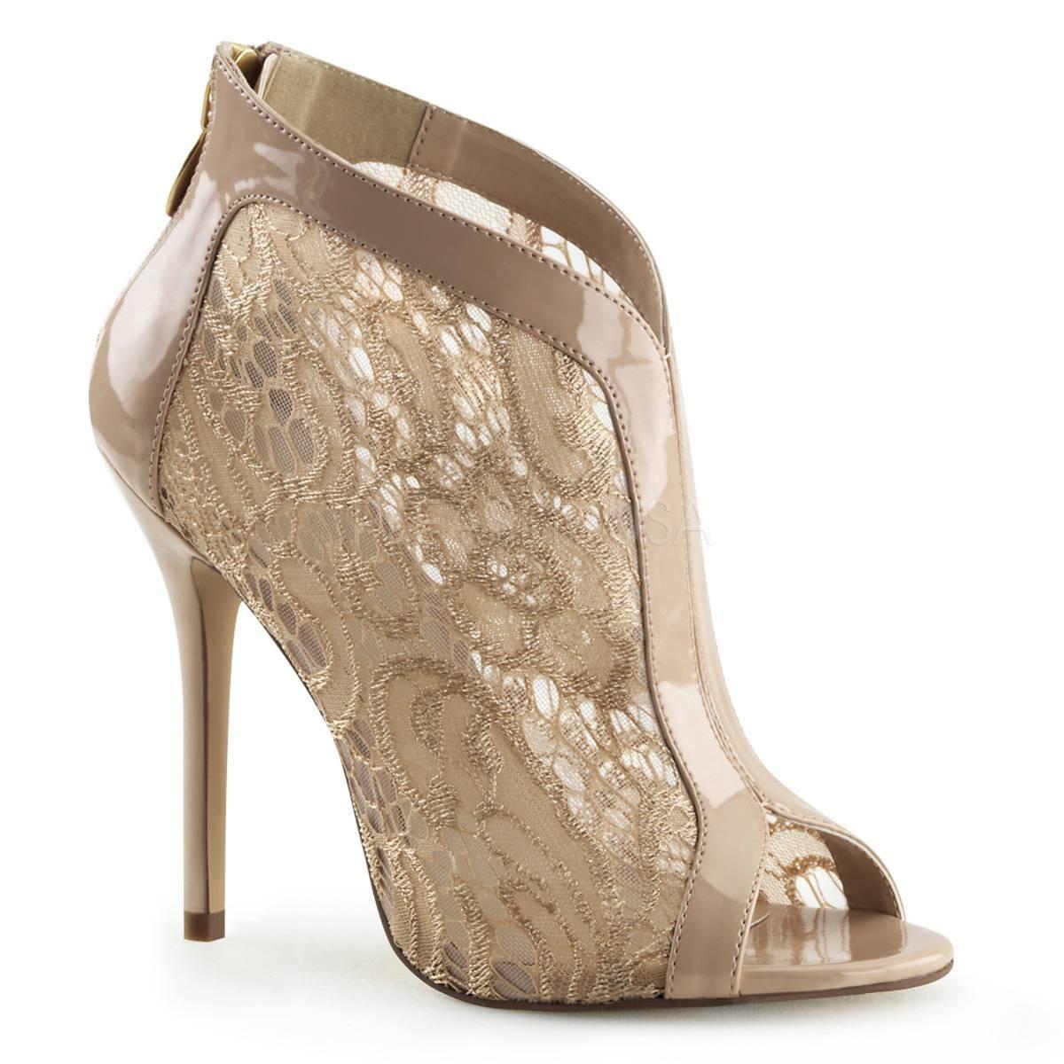 Highheels für Frauen - AMUSE 48 ° Damen Peep Toe Stiefelette ° Beige Glänzend ° Fabulicious  - Onlineshop RedSixty