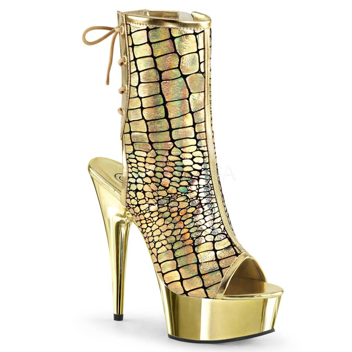 Highheels für Frauen - DELIGHT 1018HG ° Damen Peep Toe Stiefelette ° Gold Matt ° Pleaser  - Onlineshop RedSixty