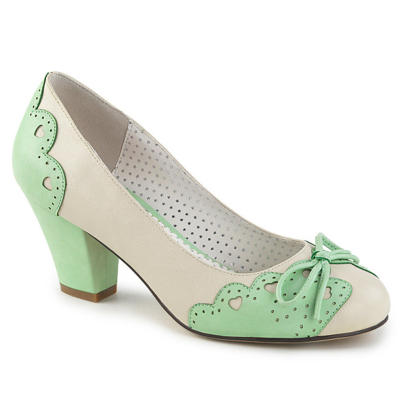 WIGGLE-17 ° Damen Mary Jane Pumps ° Beige-Mint ° Pin Up Couture
