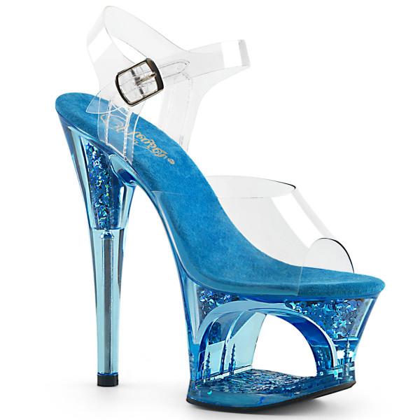 MOON-708GFT ° Plateau Exotic Dancing Damen Sandale ° Transparent ° Blau ° Pleaser