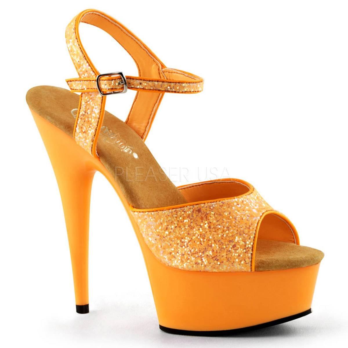 Highheels für Frauen - DELIGHT 609UVG ° Damen Sandalette ° Orange Glitter ° Pleaser  - Onlineshop RedSixty