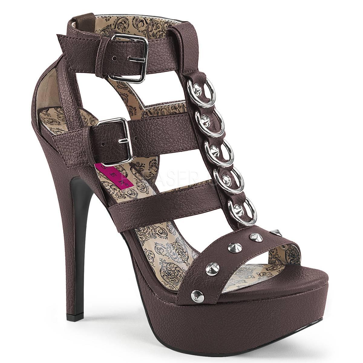 Highheels - TEEZE 42W ° Damen Sandalette ° BraunMatt ° Pleaser Pink Label  - Onlineshop RedSixty