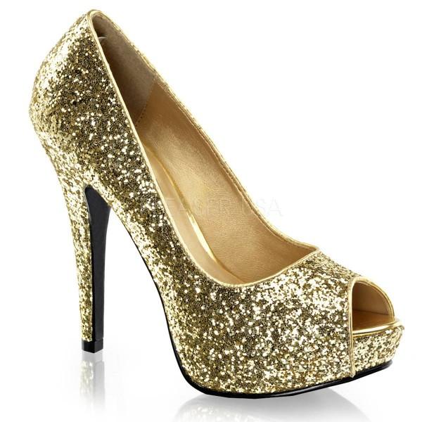 TWINKLE 18G ° Damen Peep Toe ° Gold Glitter ° Fabulicious