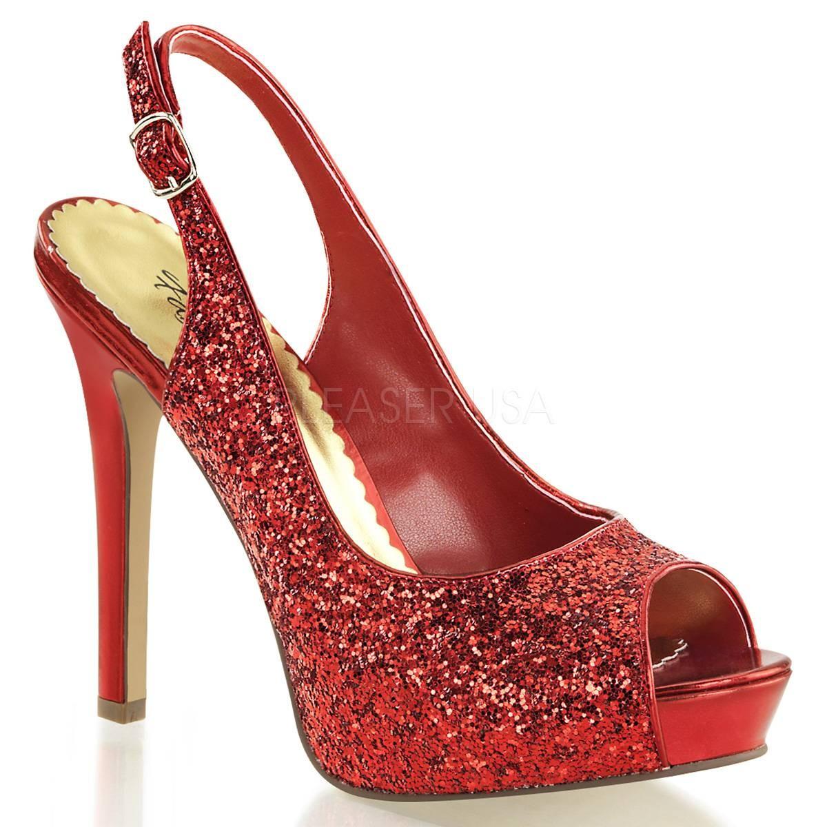 Highheels für Frauen - LUMINA 28G ° Damen Peep Toe Sandalette ° Rot Glitter ° Fabulicious  - Onlineshop RedSixty