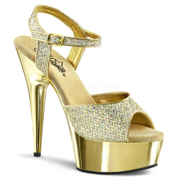 DELIGHT 609G ° Damen Sandalette ° Gold Glitter ° Pleaser