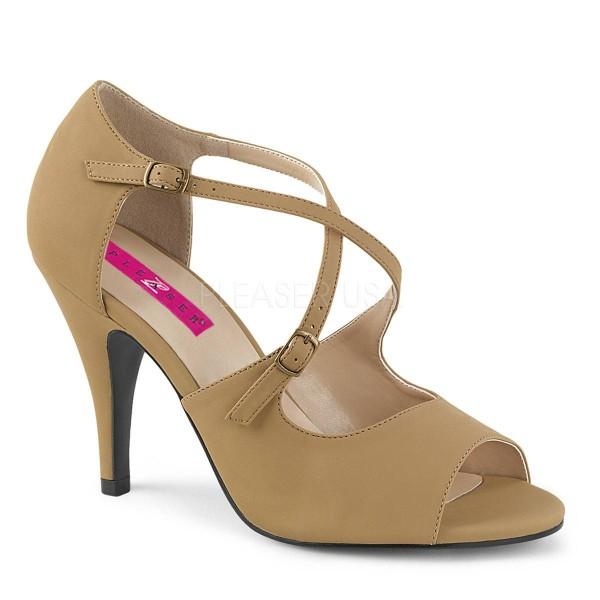 DREAM 412 ° Damen Peep Toe Sandalette ° BeigeMatt ° Pleaser Pink Label