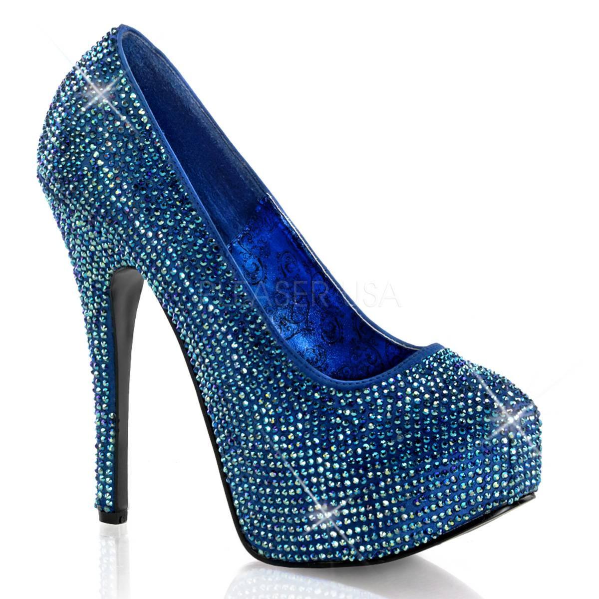 Highheels - TEEZE 06R ° Damen Pumps ° Blau Satin ° Bordello  - Onlineshop RedSixty
