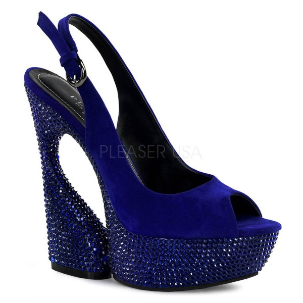 SWAN 654DM ° Damen Sandalette ° Blau Leder ° Pleaser Day & Night
