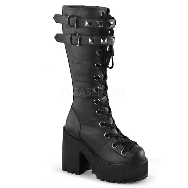 ASSAULT 202 ° Damen Plateaustiefel ° Schwarz Matt ° Demonia