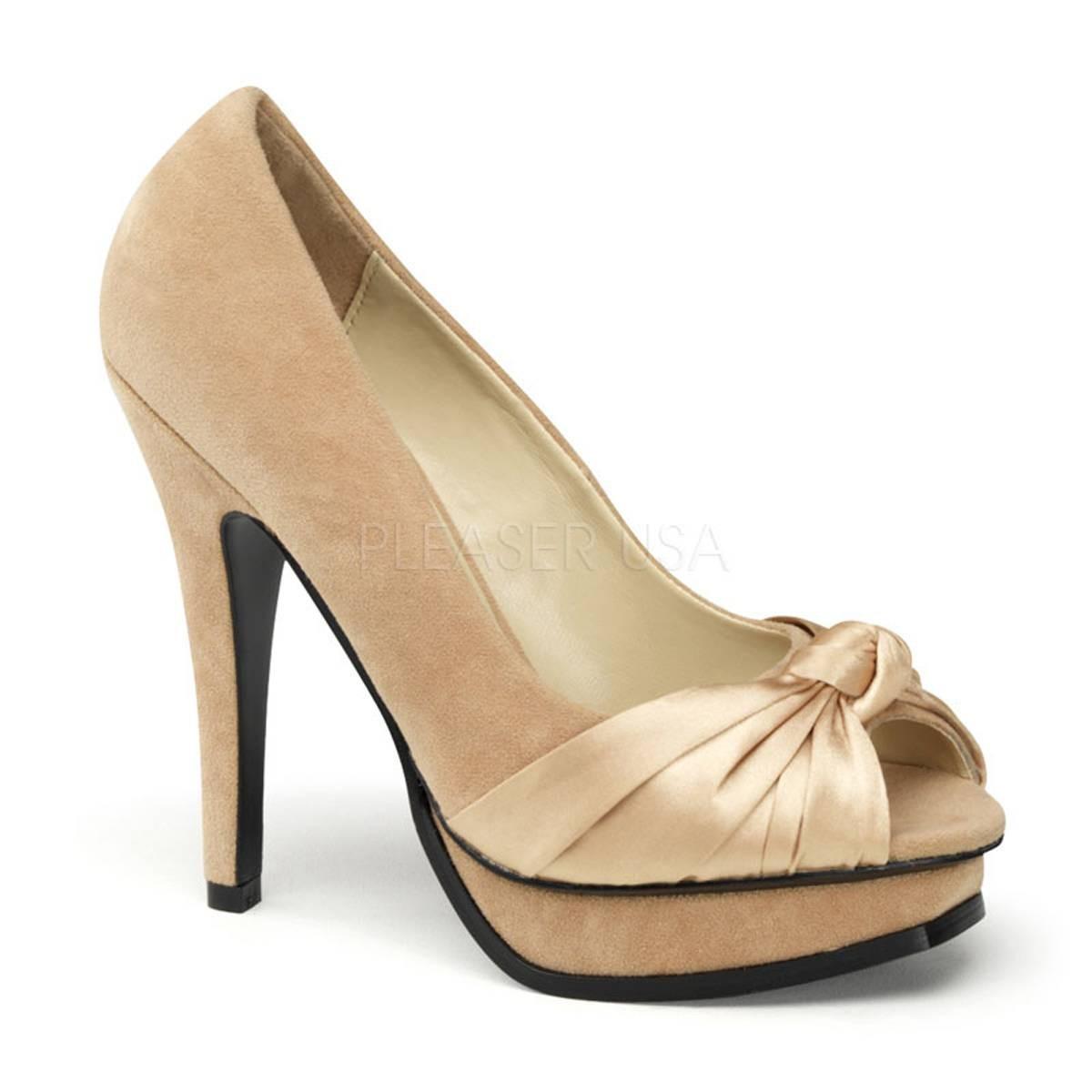 Highheels - PLEASURE 05 ° Damen Peep Toe ° Elfenbein Satin ° Pin Up Couture  - Onlineshop RedSixty