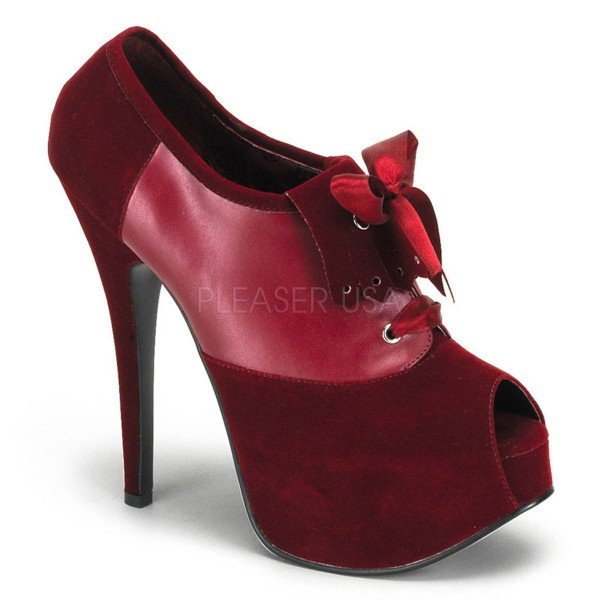 TEEZE 16 ° Damen Peep Toe ° Rot Samt ° Bordello