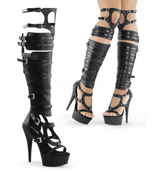 DELIGHT 600 50 ° Damen Gladiator Sandalette ° Schwarz Matt ° Pleaser