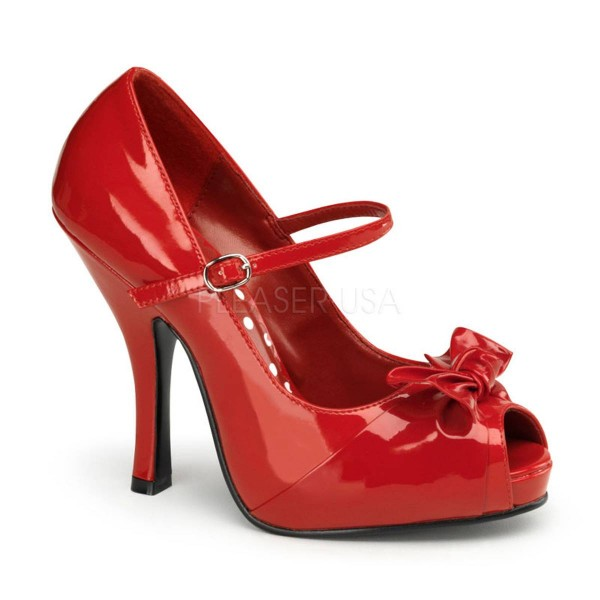 CUTIEPIE 08 ° Damen Peep Toe ° Rot Matt ° Pin Up Couture