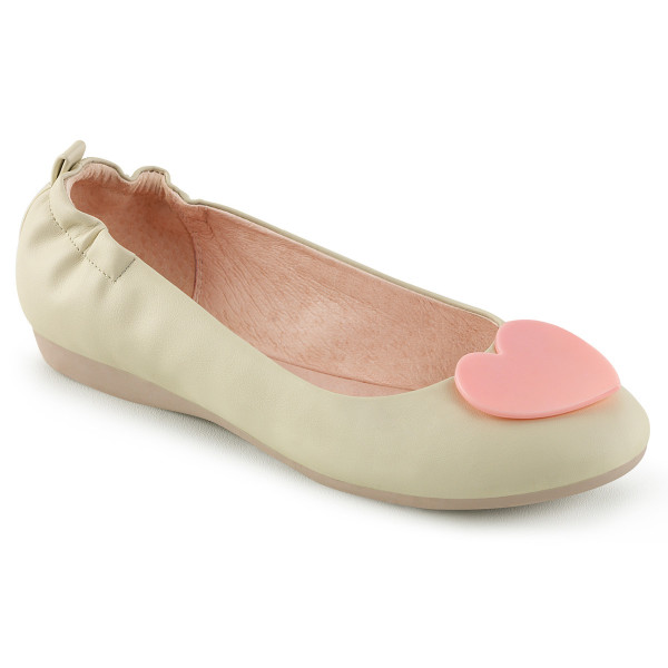 OLIVE-05 ° Damen Ballerina ° Creme ° Pin Up Couture