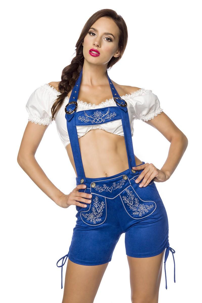Hosen für Frauen - Trachtenshorts mit Stickereien ° Blau ° Dirndline  - Onlineshop RedSixty