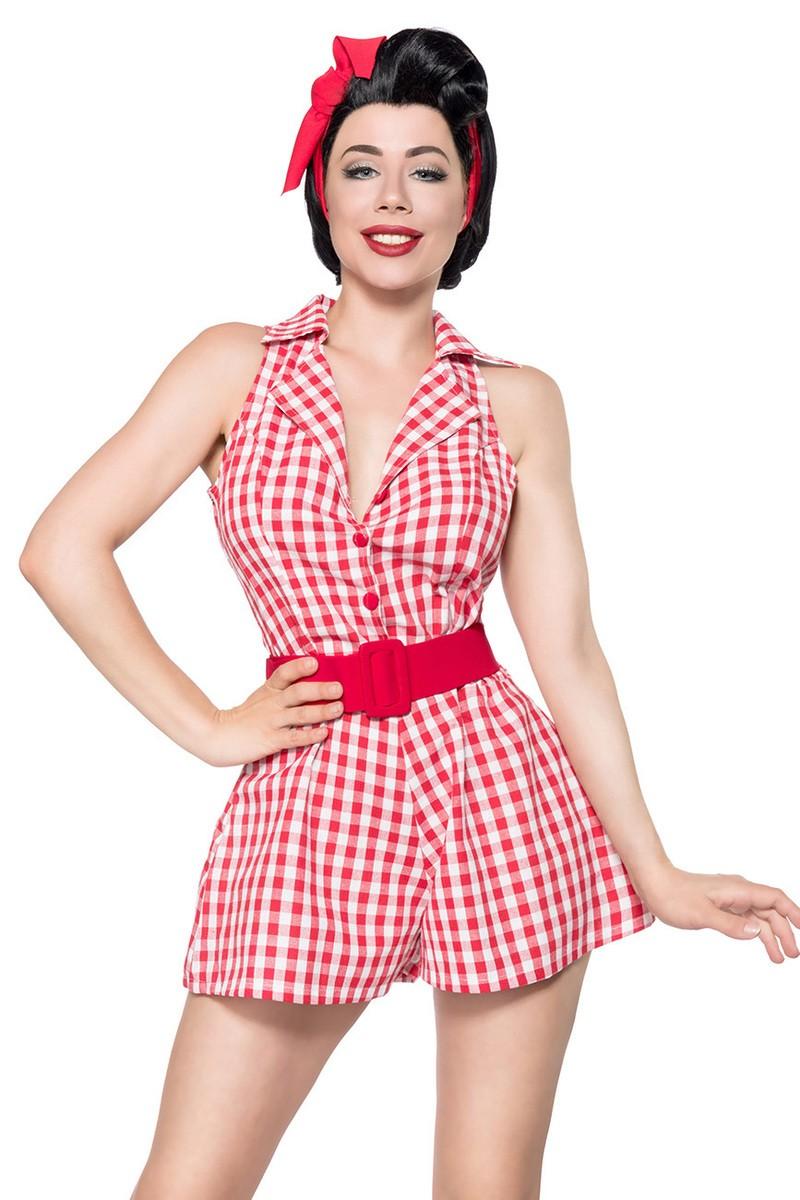 Hosen - Retro Jumpsuit ° Rot Weiß ° Belsira  - Onlineshop RedSixty