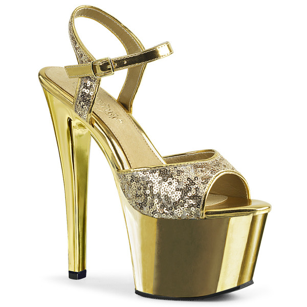 SKY-310SQ ° Plateau Exotic Dancing Damen Sandale ° Gold Pailetten ° Chrom ° Pleaser