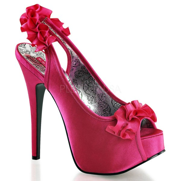 TEEZE 56 ° Damen Peep Toe Sandalette ° Pink Satin ° Bordello