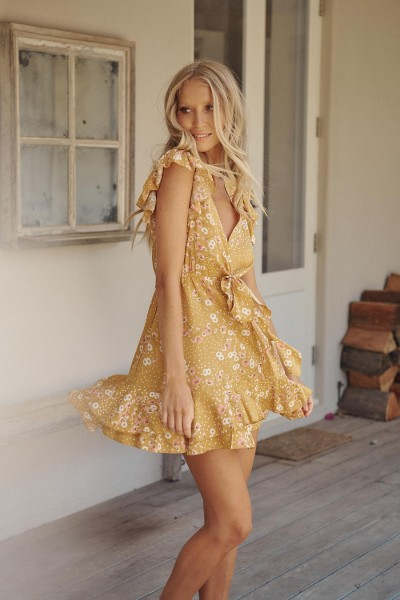 Jaase ° Rio Print Kira Mini Dress ° Gelb