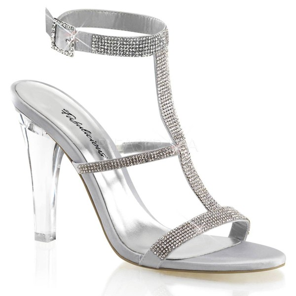 CLEARLY 418 ° Damen Sandalette ° Silber Satin ° Fabulicious