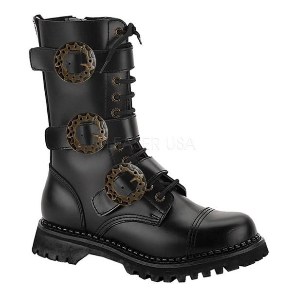 STEAM 12 ° Unisex Stiefel ° Schwarz Leder ° Demonia