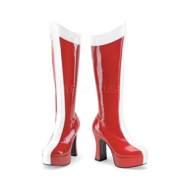 EXOTICA 305 ° Damen Stiefel ° Rot Weiß Glänzend ° Funtasma