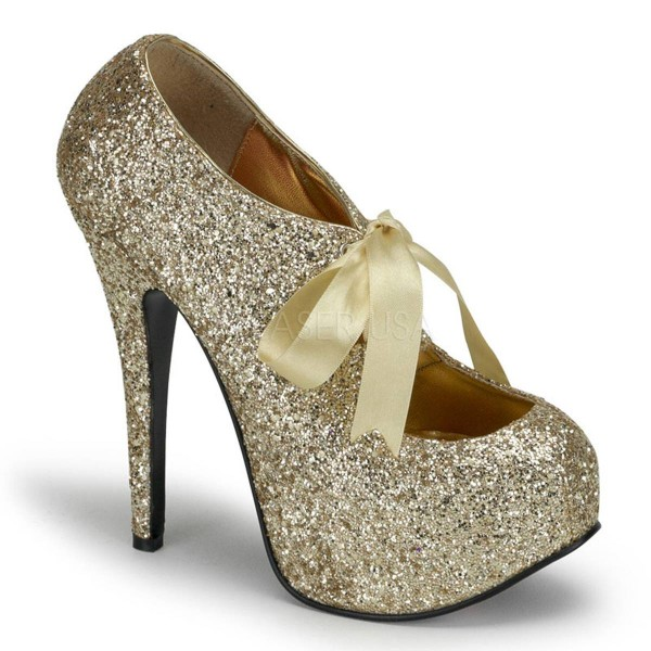TEEZE 10G ° Damen Pumps ° Gold Glitter ° Bordello