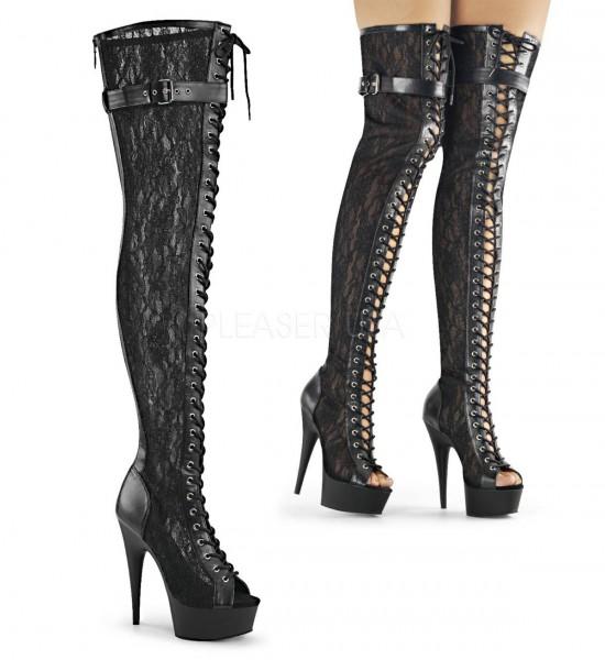 DELIGHT 3025ML ° Damen Peep Toe Overknee Stiefel ° Schwarz Spitze ° Pleaser