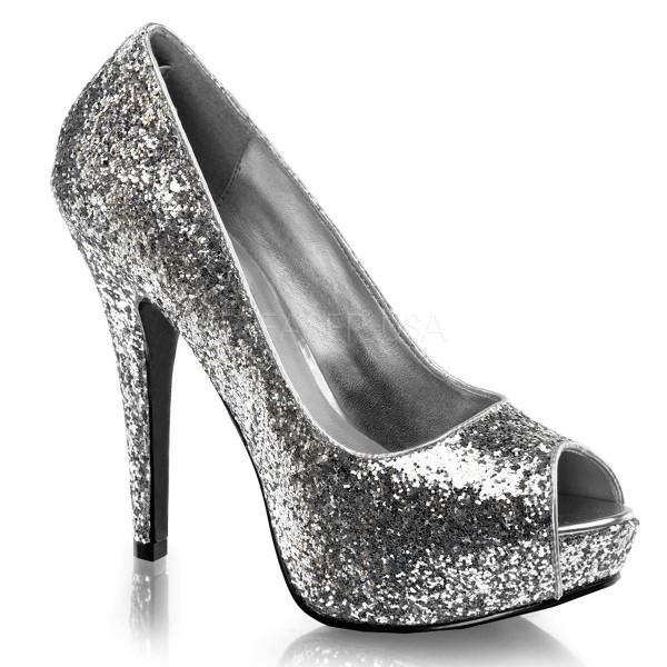 TWINKLE 18G ° Damen Peep Toe ° Silber Glitter ° Fabulicious
