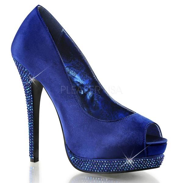 BELLA 12R ° Damen Peep Toe ° Blau Satin ° Bordello
