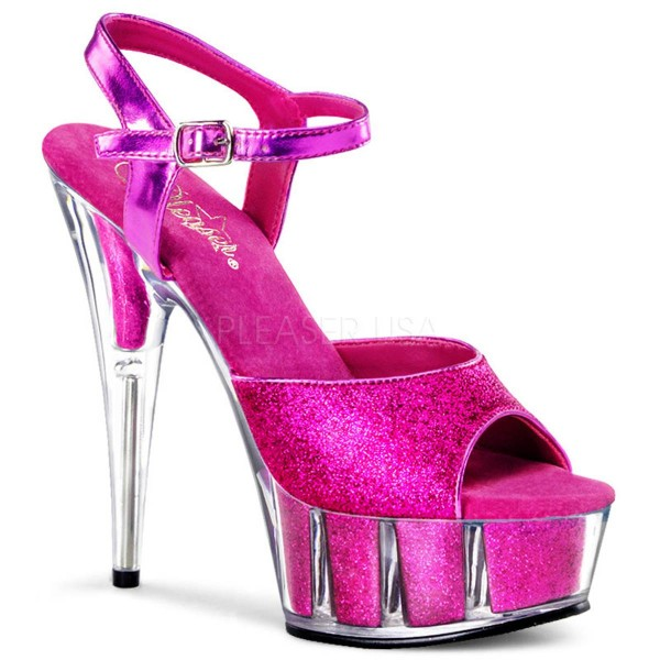 DELIGHT 609 5G ° Damen Sandalette ° Pink Glitter ° Pleaser
