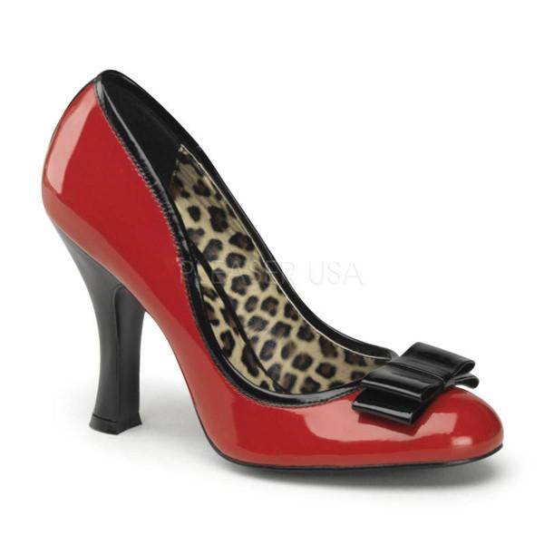 SMITTEN 01 ° Damen Pumps ° Rot Schwarz Glänzend ° Pin Up Couture