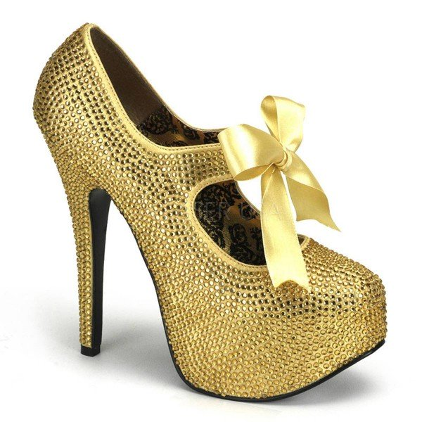 TEEZE 04R ° Damen Pumps ° Gold Strass ° Bordello