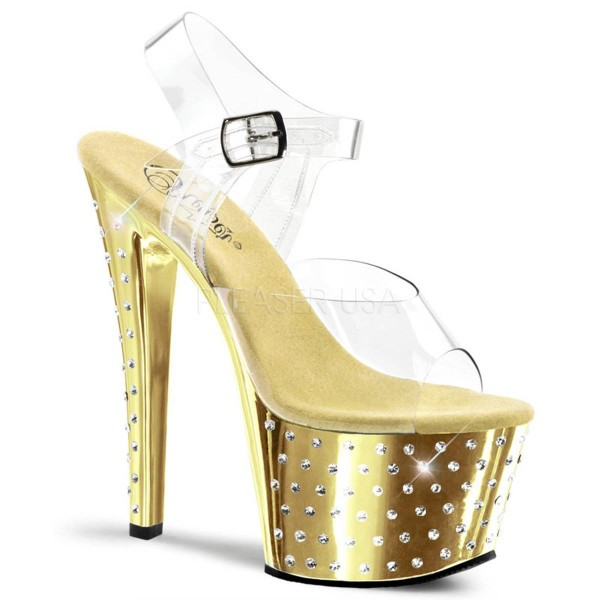 STARDUST 708 ° Damen Sandalette ° Transparent Matt ° Pleaser
