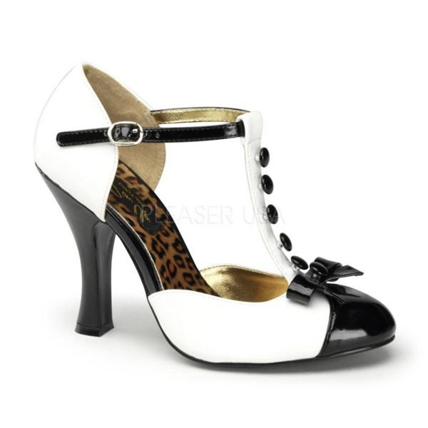 SMITTEN 10 ° Damen Pumps ° Weiß Schwarz Glänzend ° Pin Up Couture