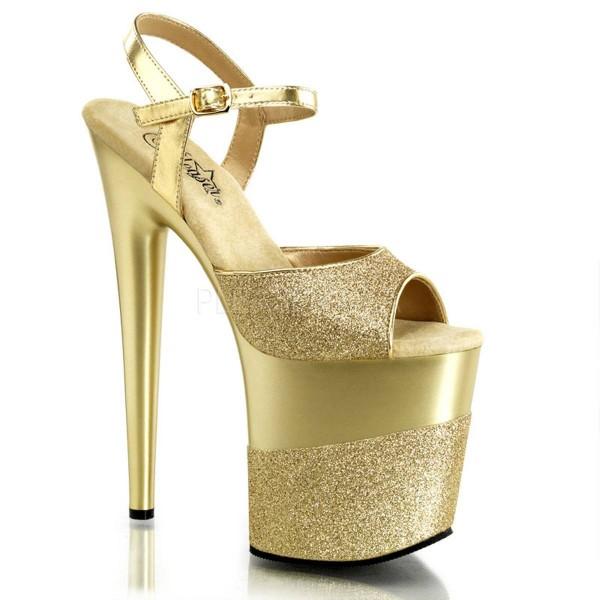 FLAMINGO 809 2G ° Damen Sandalette ° Gold Glitter ° Pleaser
