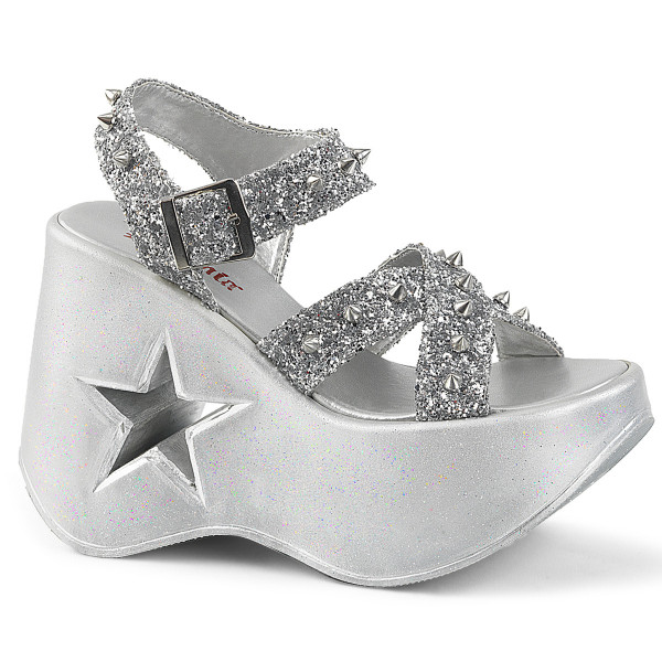 DYNAMITE-02 ° Damen Sandale ° Silber ° Glitter ° Demonia