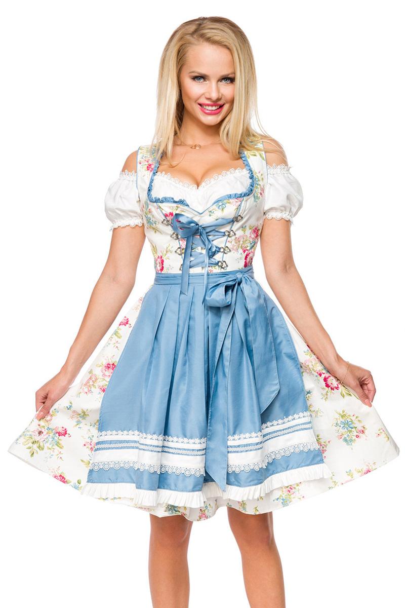 Romantisches Blümchen-Dirndl ° Weiß-Blau ° Dirndline   Dirndl   Fashion    RedSixty 9acca89650