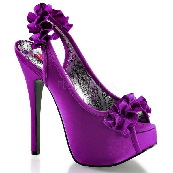TEEZE 56 ° Damen Peep Toe Sandalette ° Violett Satin ° Bordello