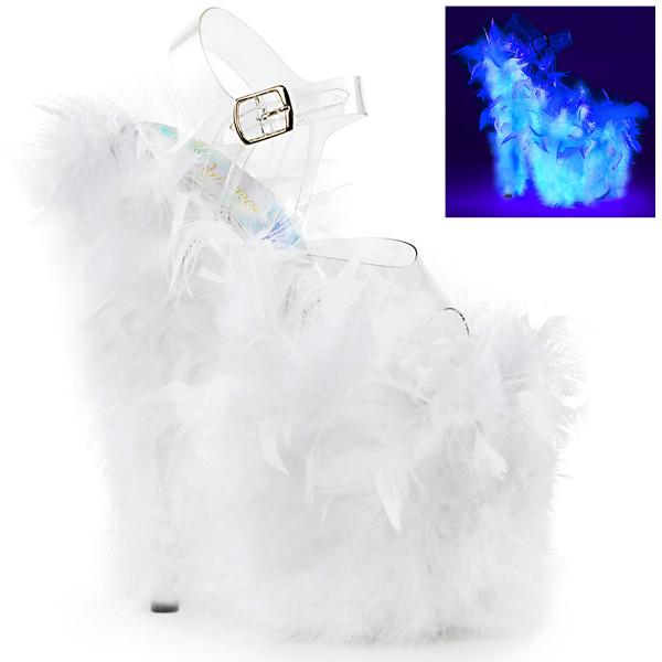 FLAMINGO-808F ° Plateau Exotic Dancing Damen Sandale ° Transparent ° Neon Weiß ° Pleaser
