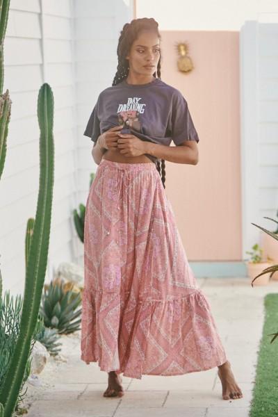 Jaase ° Afrodita Print Songbird Maxi Skirt ° Rosa