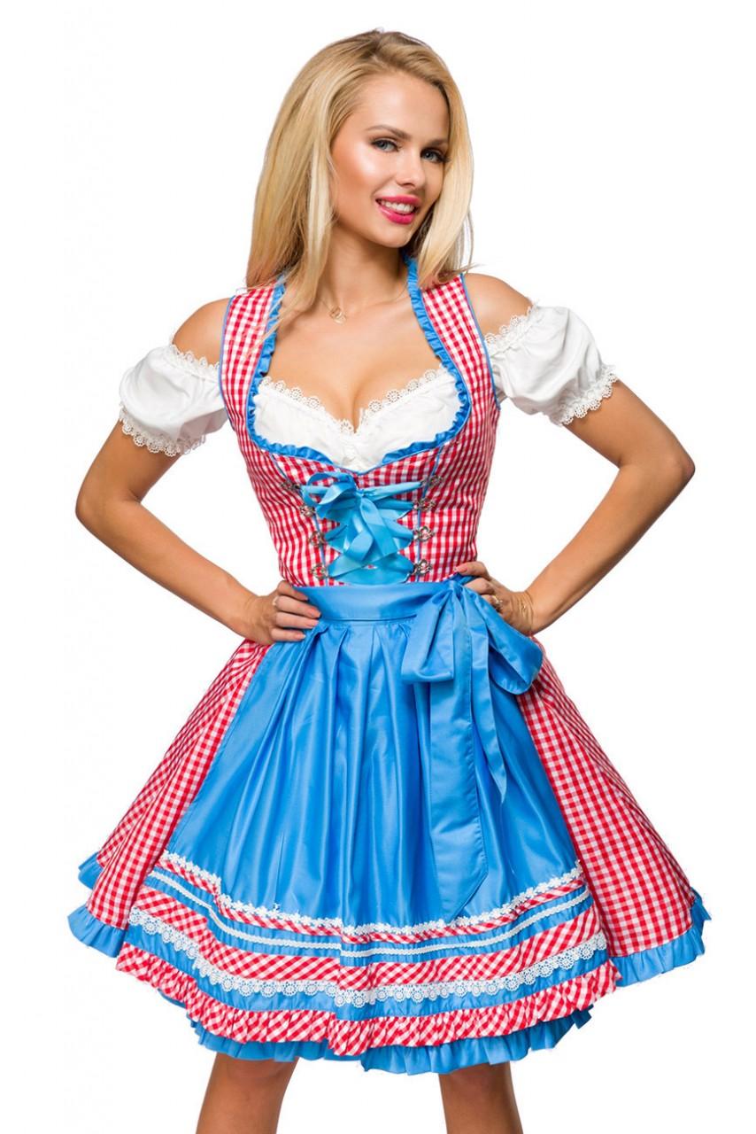 Kleider - Traditionelles Karodirndl ° Rot Blau Weiß ° Dirndline  - Onlineshop RedSixty