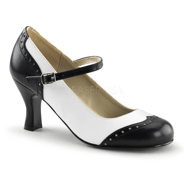 FLAPPER 25 ° Damen Pumps ° Schwarz Weiß Matt ° Funtasma