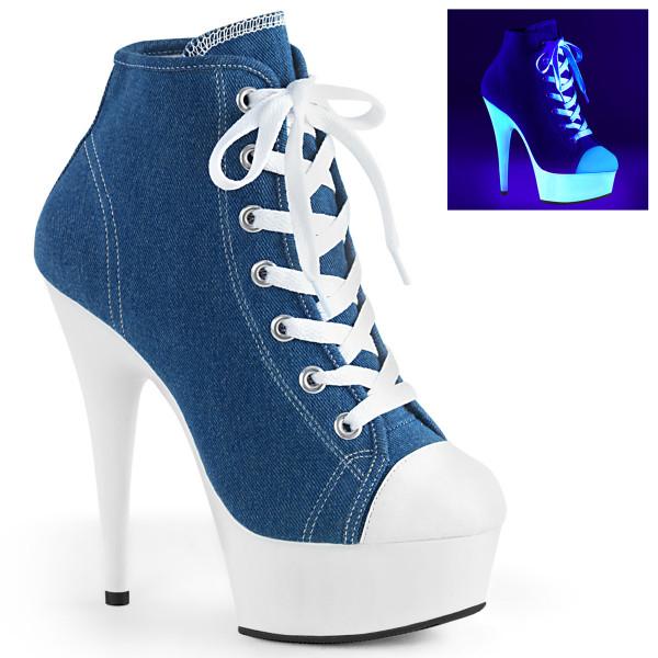 DELIGHT-600SK-02 ° Plateau Exotic Dancing Damen High Heel Sneaker ° Jeansblau ° Neon Weiß ° Pleaser