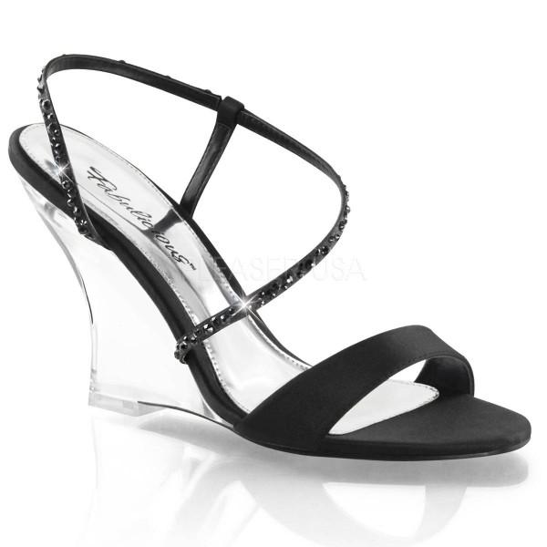 LOVELY 417 ° Damen Sandalette ° Schwarz Satin ° Fabulicious
