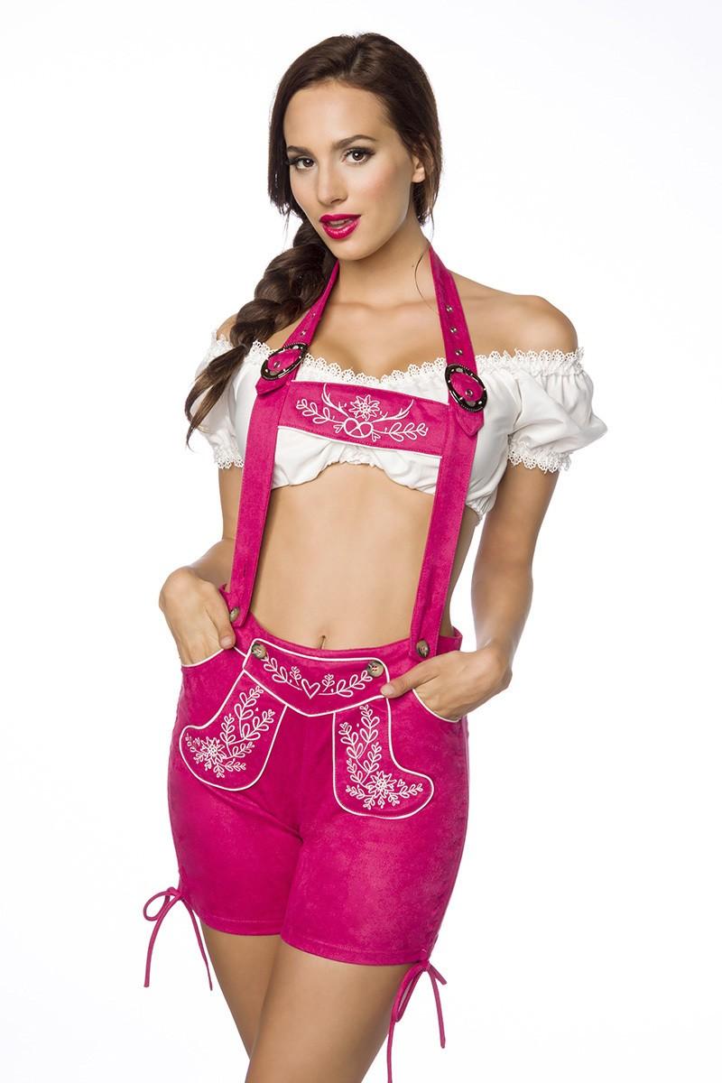 Hosen für Frauen - Trachtenshorts mit Stickereien ° Pink ° Dirndline  - Onlineshop RedSixty