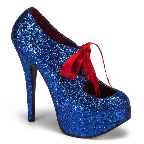 TEEZE 10G ° Damen Pumps ° Blau Glitter ° Bordello