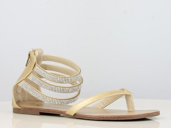 Peachyboo ° Ankle Strap Sandale mit Brilliantriemen ° Gold