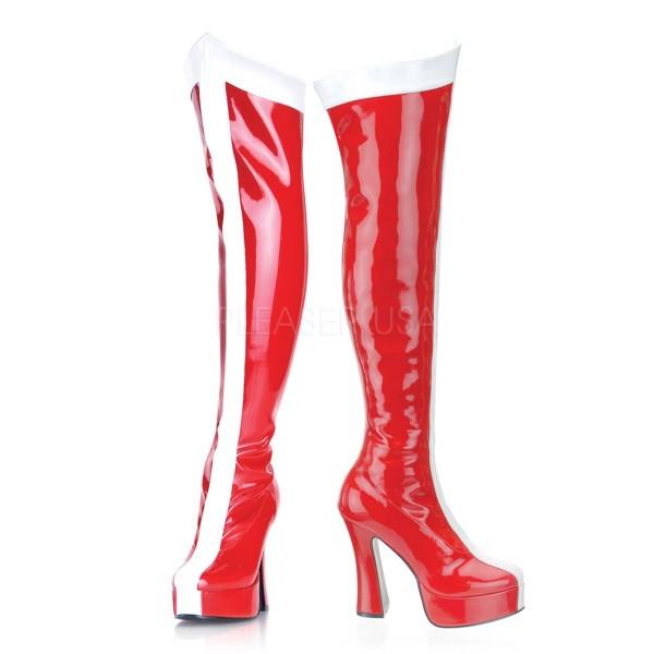 ELECTRA 2090 ° Damen Overknee Stiefel ° Rot Weiß Glänzend ° Funtasma