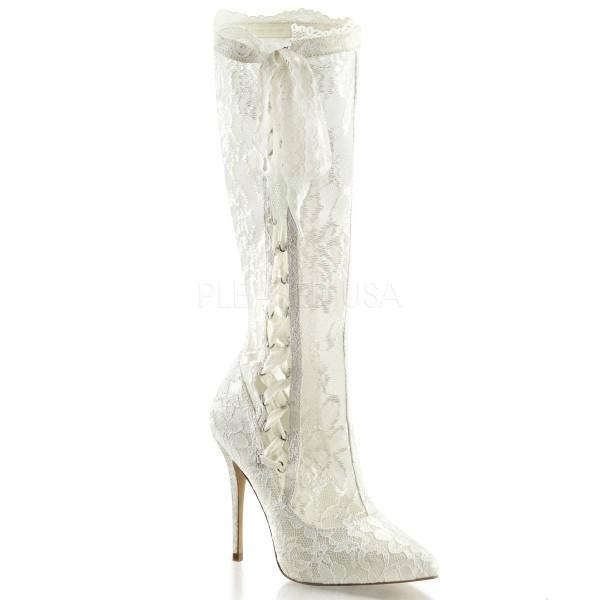AMUSE 2012 ° Damen Overknee Stiefel ° Weiß Matt ° Fabulicious